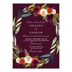 Modern Burgundy Floral Wreath Wedding Invitation  $2.05  by Nicheandnest  - cyo customize personalize unique diy idea
