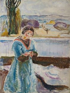 Edvard Munch: Portrait woman with crossed arms , 1913-1914. Stenersen Collection / Munch Museum