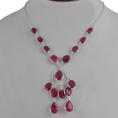 HOT SELL RUBY 925 SOLID STERLING SILVER LATEST FANCY NECKLACE 18.99g NK0036 #Handmade #NECKLACE