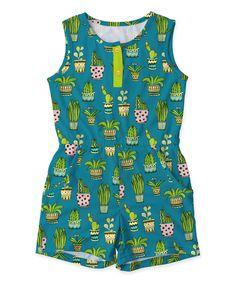 Teal Cactus Pocket Romper - Toddler & Girls