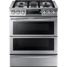 Samsung 30 in. 5.8 cu. ft. Slide-In Dual Door Double Oven, Dual Fuel Range with Self-Cleaning Convection Oven in Stainless Steel-NY58J9850WS - The Home Depot