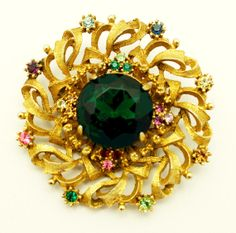 Vintage Brooch Victorian Style Emerald Green and by HeirloomBandB, $45.00