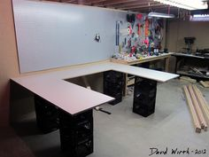 u shaped craft tables | easy to make arts and crafts table, smooth wood top, melamine, white ...