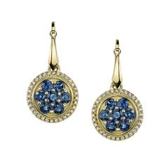 Gold Sapphire and Diamond cluster drop earrings. Gifts For My Girlfriend, Forget Me Not, Blue Sapphire, 18k Gold, Jewerly, Best Gifts, Bling, Drop Earrings, Diamond
