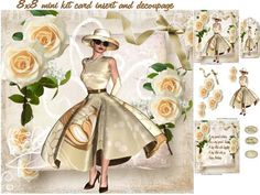 race day roses on Craftsuprint designed by Cynthia Berridge - 7.5x7.5 mini kit card insert and decoupage - Now available for download!