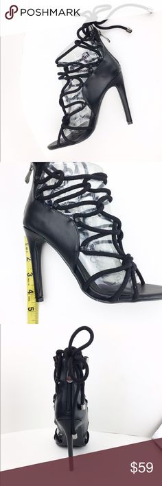 """NEW Black Strappy Lace up Heel Stilettos 4.5"""" NIB Brand new!!  4.5"""" Heel Arrives new in original box. These will not be restocked so get them while they are here!  No trades. We ship next day. Bundle for discounts. Cape Robbin Shoes Heels"""