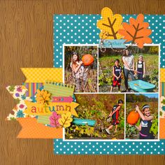 Autumn - Scrapbook.com. Fall 7 or 8 photos for a double layout.  Doodlebug. Friendly Forest.