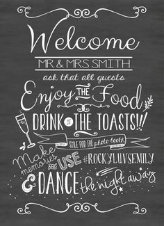 Wedding Chalkboard Sign Printable Welcome by FlyOnTheWallink