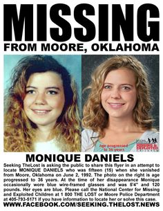 Please share to solve the case of missing Monique Daniels who was when she. pinned with Pinvolve Missing Child, Missing Persons, People In Need, We The People, Miranda Blake, Help Help, Missing And Exploited Children, True Crime Books, Amber Alert
