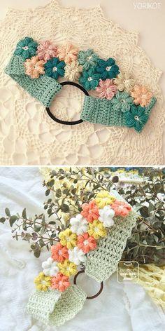 Col Crochet, Crochet Collar, Crochet Baby, Crochet Flower Headbands, Crochet Flower Patterns, Free Crochet Headband Patterns, Flower Crochet, Crochet Crafts, Crochet Projects