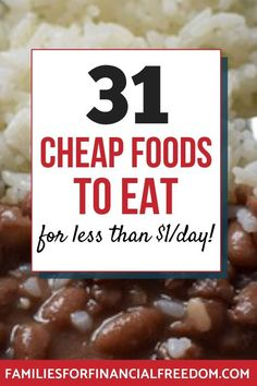 Cheap food ideas to slash your groceries budget! Cheap food ideas for inexpensive meals! Frugal f Frugal Living Tips, Frugal Tips, Frugal Meals, Budget Meals, Frugal Recipes, Cheap Recipes, Cheap Grocery List, Grocery Savings Tips, Best Money Saving Tips