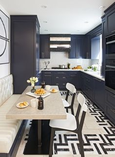 dark cabinets, banquette seating
