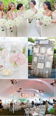 Gather mismatched frames, use ribbons to hang off of vintage glass doornobs on an old gate.  FABULOUS look that could go into your home afterwards.  Simply change out the seating charts for wedding pictures and you have a piece of your day forever.  Click the image to see the entire wedding: Classic Wisconsin Wedding 3