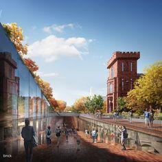 Smithsonian Campus Master Plan on Behance Architect: BIG Architectural Visualization: Brick Visual