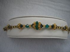 Hand Stitched Green and Gold Crystal Beaded by AcadianGlassArt