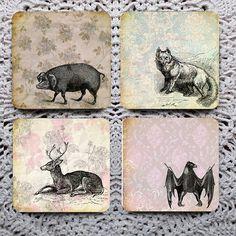 Shadows on the Wall  Vintage Animals on Wallpaper mousepad coaster set coasters by Polkadotdog