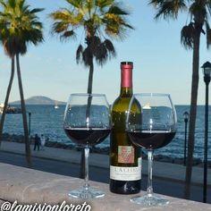 Enjoying a Baja California wine on the terrace at Los Olivos restaurant La Mision Loreto. by lamisionloreto