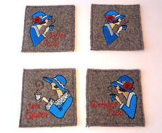 Set of 4 upcycled wool coasters mug rugs  made by SewFreshAgain
