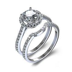Halo Style Round Diamond Wedding Set in 14k White Gold