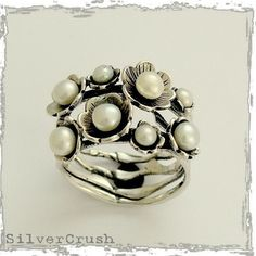 Floral woodland sterling silver stones ring with fresh water pearls - Clueless