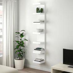shelves for post LACK Wall shelf unit - white - IKEA Ikea Lack Wall Shelf, Lack Shelf, White Wall Shelves, Wall Shelf Unit, Shelves In Bedroom, Wall Shelves Design, Wall Shelf Decor, Wall Units, Wall Shelving
