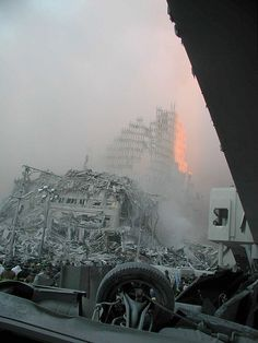 September 11, 2001, 9/11, the day the world changed, rubbles, fog, photo, never forget.