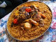 Traditional Senegalese/Wolof meal. Ceebu jen: rice and fish (with ...