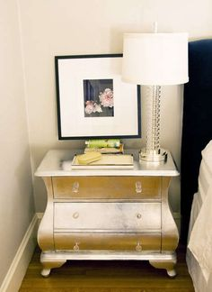 diy silver-leafing furniture, before and after