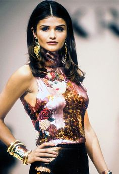 Helena Christensen walked for Krizia Fall/Winter 1992