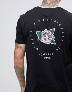 476c3a1d96320 Longline T-Shirt With Oakland Rose Back Print  longline  oakland  print