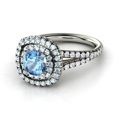 Cushion Blue Topaz 18K White Gold Ring with Aquamarine & White Sapphire | Lillian Ring (6mm gem) | Gemvara