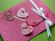 Handmade Valentine's Day card----Hearts Aflutter. $5.50, via Etsy. I'd love this as a white card with red hearts.