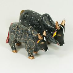 Carved and Painted Black Toros, San Martin Tilcajete