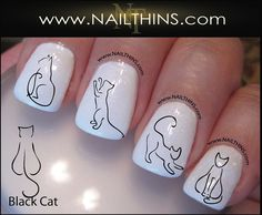 Black Cat Nail Decal Kitty Would be good as tattoos too