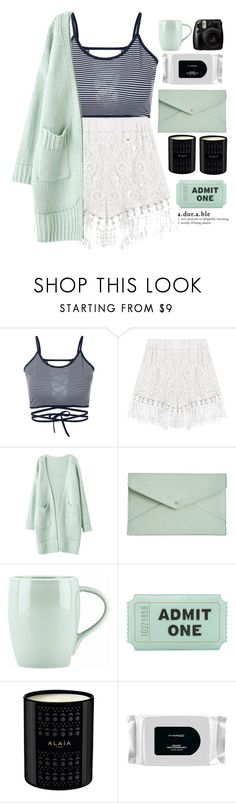 """s t r i p e"" by credendovides ❤ liked on Polyvore featuring Danielle Nicole, Dansk, Kate Spade, MAC Cosmetics and Fujifilm"