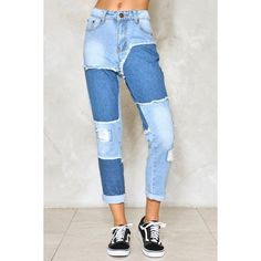 Nasty Gal Patch Me If You Can Jeans (€51) ❤ liked on Polyvore featuring jeans, zip jeans, zipper jeans, destroyed crop jeans, ripped patched jeans and relaxed fit jeans