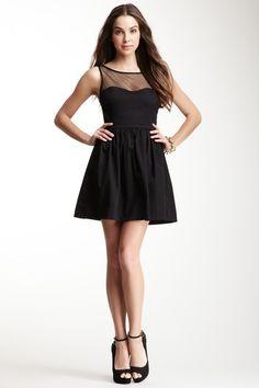 Solid Sateen Sleeveless Combo Mesh Dress