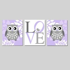 Floral Owl Baby Bird Love Nursery Art Trio Set of by Tessyla