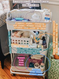 Nursery Rolling Cart for baby and new moms. baby and nursery organization. breast feeding moms bottle feeding moms diapers wipes etc Baby Nursery Organization, Organizing Baby Stuff, Organization Ideas, Nursery Storage, Baby Drawer Organization, Newborn Baby Tips, Baby Baby, Newborn Care, Baby Life Hacks