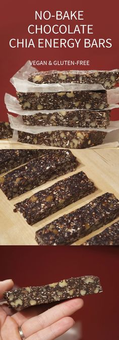 no bake chocolate chia gluten free energy bars 13 Energy Bar Recipes For A Healthy Afternoon Pick Me Up Vegan Sweets, Healthy Sweets, Healthy Baking, Vegan Desserts, Raw Food Recipes, Healthy Snacks, Snack Recipes, Bar Recipes, Free Recipes