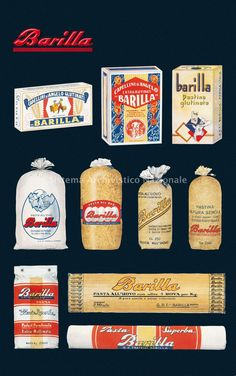 Barilla, annuncio pubblicitario, 2000 - Barilla è tra i primi gruppi alimentari italiani, leader nel mercato della pasta nel mondo, dei sughi pronti in Europa, dei prodotti da forno in Italia e dei pani croccanti nei Paesi Scandinavi. Alla guida della società, da quasi 140 anni, è una famiglia che è giunta alla quarta generazione. Il manifesto riproduce la storia del Packaging Barilla dal 1930 al 1950 (Archivio storico Barilla G. e R. Fratelli spa, Fondo Pavesi)