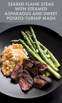 Seared Flank Steak with Steamed Asparagus and Sweet Potato-Turnip Mash