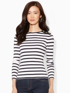 Buttoned-Shoulder Striped Top - 3/4 sleeve would be better