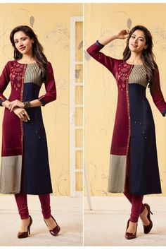 A Bunch Rayon Embroidered Event Wear Knee Length Kurti Set Stylish Dress Designs, Stylish Dresses, Fashion Dresses, Kurti Sleeves Design, Kurta Neck Design, Kurta Designs Women, Blouse Designs, Printed Kurti Designs, Fancy Kurti
