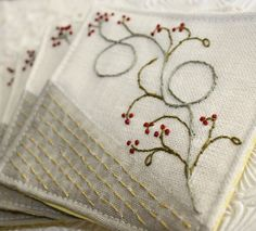 Fabric Coaster Textile Home Garden Entertaining Hand Embroidery Hostess Gourmet Gift  Linen Winterberry via Etsy