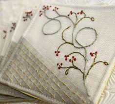 Fabric Coaster Textile Home Garden Entertaining Hand Embroidery Hostess Gourmet Gift  Linen Winterberry via Etsy