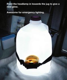 When camping, stick a headlamp around a water jug and it will light up the tent. When camping, stick a headlamp around a water jug and it will light up the tent. When camping, stick a headlamp around a water jug and it will light up the tent. Lampe Camping, Vw Camping, Camping Survival, Outdoor Camping, Survival Skills, Family Camping, Camping Coffee, Survival Hacks, Homestead Survival