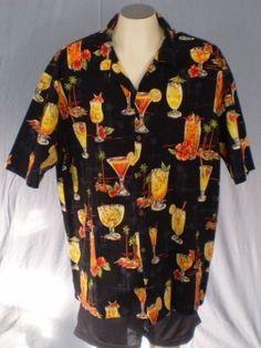 Pacific Legend Black XXL Hawaiian Shirt Cocktails Drinks Palm Trees Cotton #PacificLegendApparelInc #Hawaiian