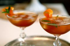 Sweet Tea Bourbon Cocktail with fresh mint and orange