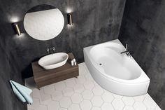 Loke hjørnebadekar. Tilgjengelig med panelfarge. Corner Bathtub, Bathroom, Washroom, Full Bath, Bath, Bathrooms, Corner Tub